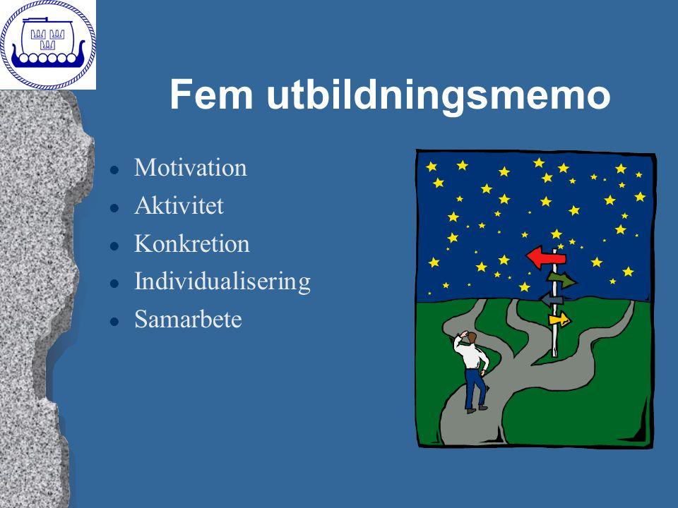 Fem utbildningsmemo l Motivation l Aktivitet l Konkretion l Individualisering l Samarbete