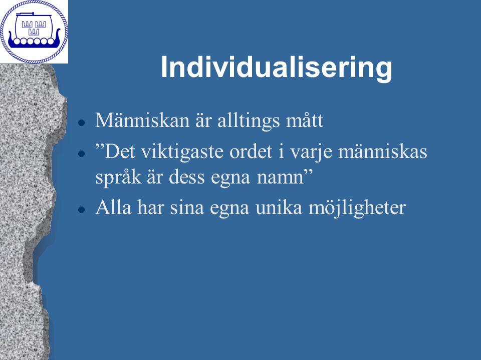 """Individualisering l Människan är alltings mått l """"Det viktigaste ordet i varje människas språk är dess egna namn"""" l Alla har sina egna unika möjlighet"""
