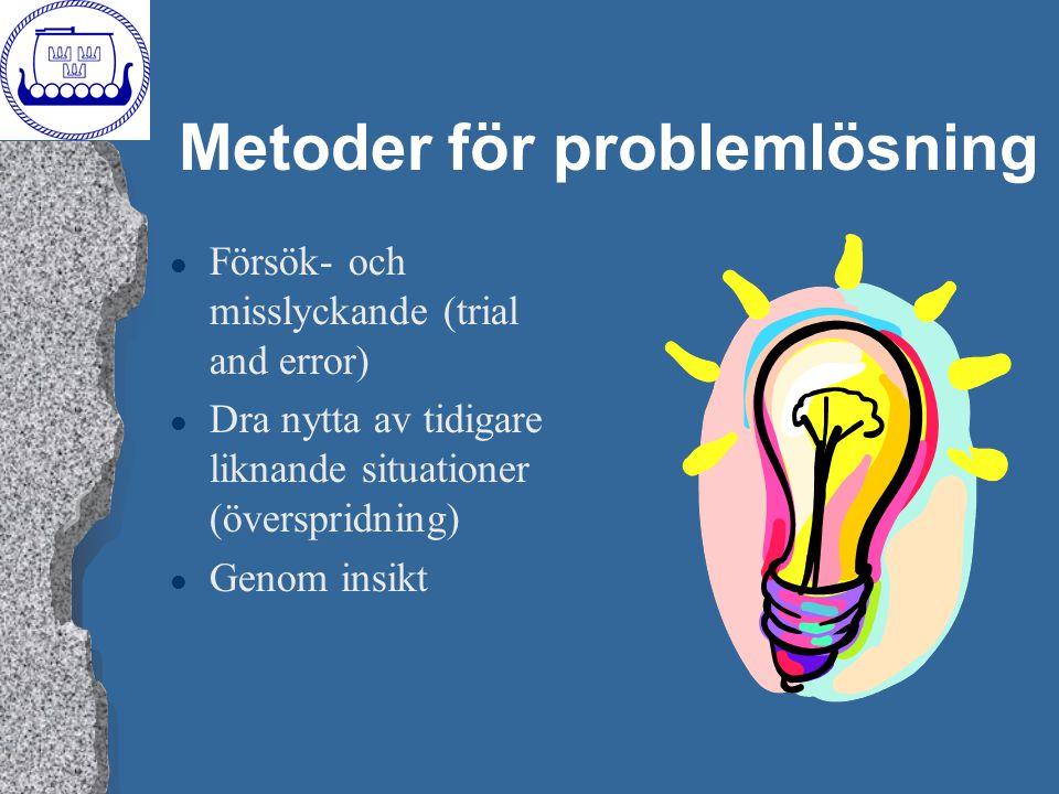 Metoder för problemlösning l Försök- och misslyckande (trial and error) l Dra nytta av tidigare liknande situationer (överspridning) l Genom insikt