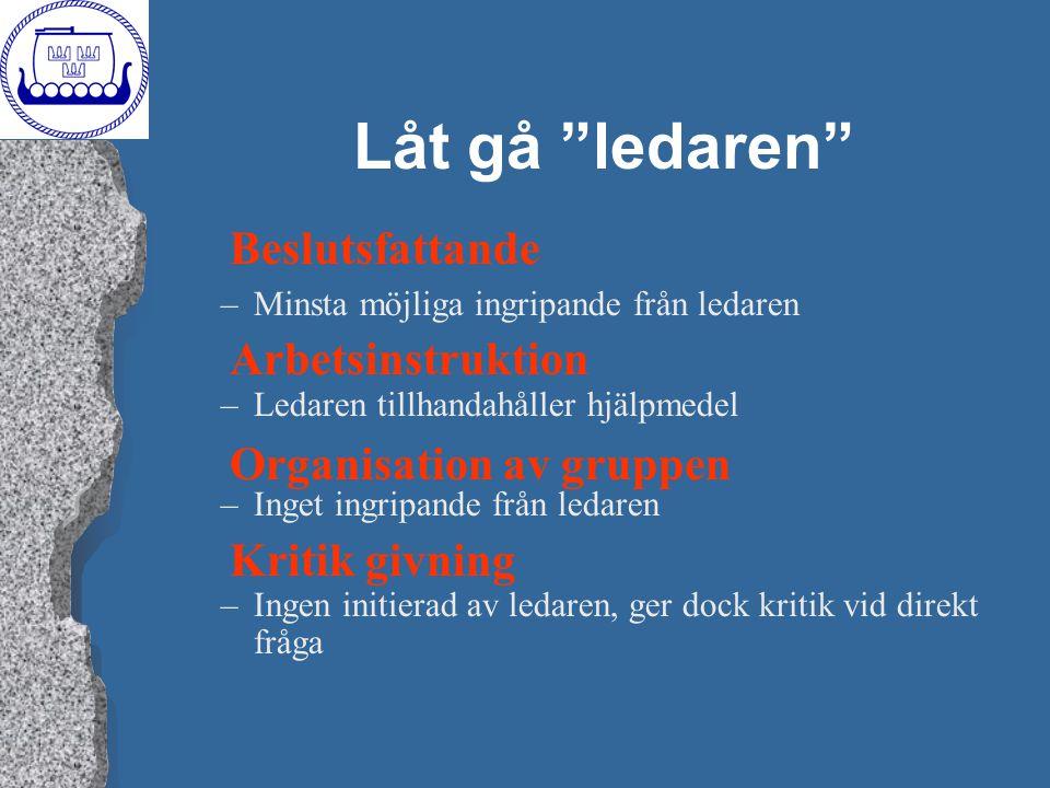 """Låt gå """"ledaren"""" –Minsta möjliga ingripande från ledaren –Ledaren tillhandahåller hjälpmedel –Inget ingripande från ledaren –Ingen initierad av ledare"""