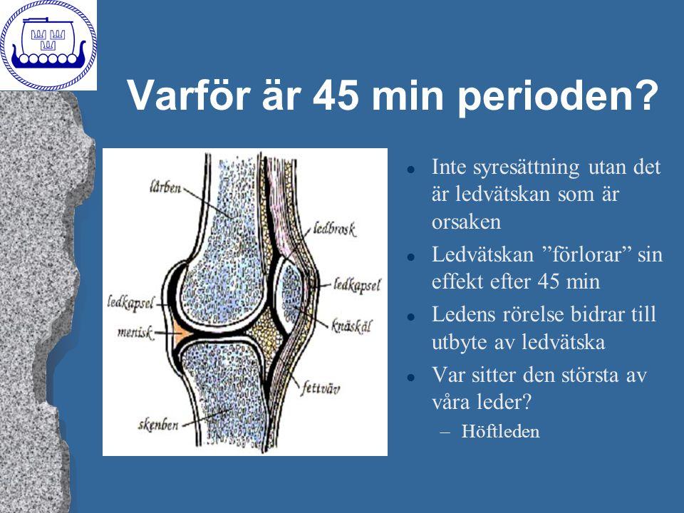 """Varför är 45 min perioden? l Inte syresättning utan det är ledvätskan som är orsaken l Ledvätskan """"förlorar"""" sin effekt efter 45 min l Ledens rörelse"""