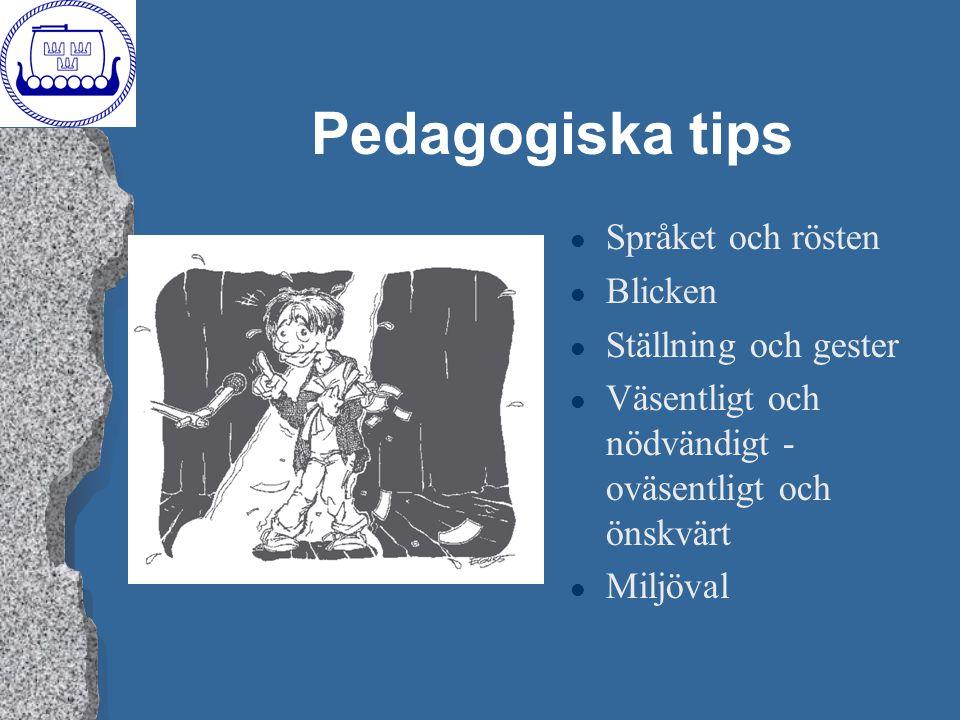 Pedagogiska tips l Språket och rösten l Blicken l Ställning och gester l Väsentligt och nödvändigt - oväsentligt och önskvärt l Miljöval