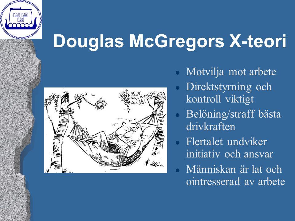 Douglas McGregors X-teori l Motvilja mot arbete l Direktstyrning och kontroll viktigt l Belöning/straff bästa drivkraften l Flertalet undviker initiat