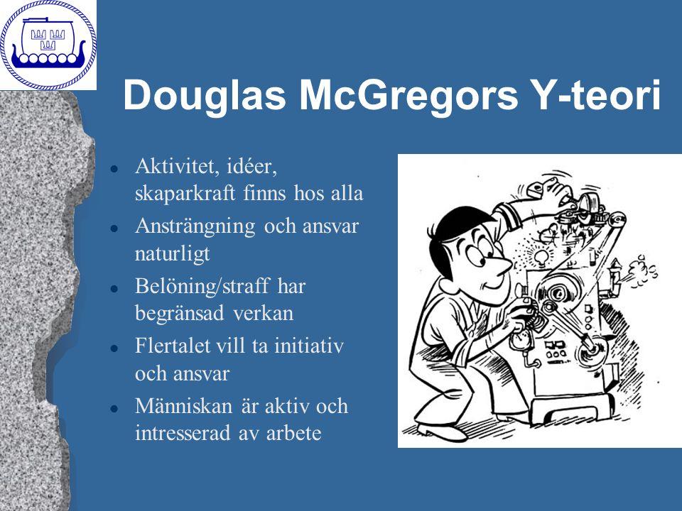 Douglas McGregors Y-teori l Aktivitet, idéer, skaparkraft finns hos alla l Ansträngning och ansvar naturligt l Belöning/straff har begränsad verkan l