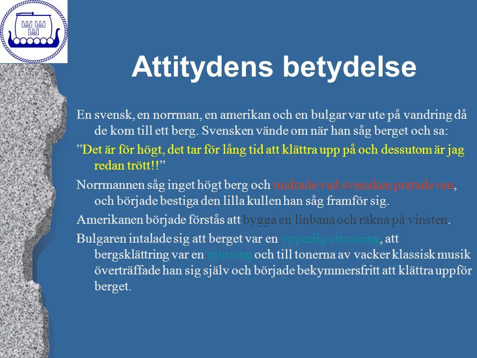 Attitydens betydelse En svensk, en norrman, en amerikan och en bulgar var ute på vandring då de kom till ett berg. Svensken vände om när han såg berge