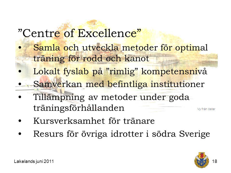Lakelands juni 201118 Centre of Excellence Samla och utveckla metoder för optimal träning för rodd och kanot Lokalt fyslab på rimlig kompetensnivå Samverkan med befintliga institutioner Tillämpning av metoder under goda träningsförhållanden Kursverksamhet för tränare Resurs för övriga idrotter i södra Sverige