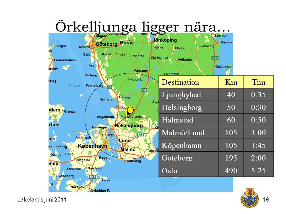 Lakelands juni 201119 DestinationKmTim Ljungbyhed400:35 Helsingborg500:30 Halmstad600:50 Malmö/Lund1051:00 Köpenhamn1051:45 Göteborg1952:00 Oslo4905:25 Örkelljunga ligger nära…