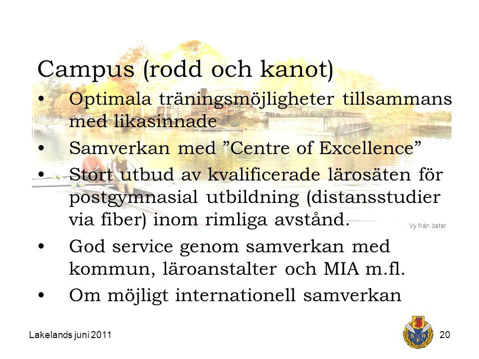 Lakelands juni 201120 Campus (rodd och kanot) Optimala träningsmöjligheter tillsammans med likasinnade Samverkan med Centre of Excellence Stort utbud av kvalificerade lärosäten för postgymnasial utbildning (distansstudier via fiber) inom rimliga avstånd.