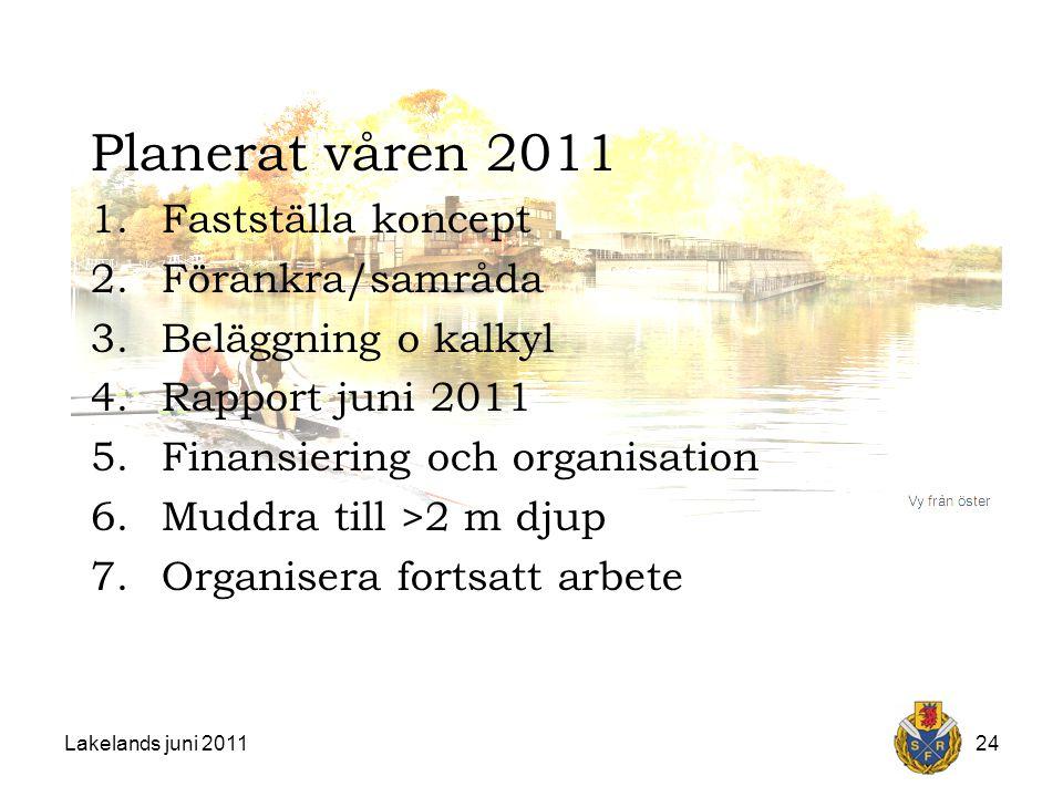 Lakelands juni 201124 Planerat våren 2011 1.Fastställa koncept 2.Förankra/samråda 3.Beläggning o kalkyl 4.Rapport juni 2011 5.Finansiering och organisation 6.Muddra till >2 m djup 7.Organisera fortsatt arbete