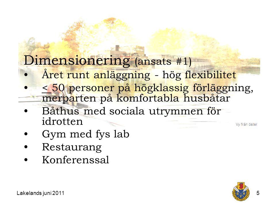 Lakelands juni 20115 Dimensionering (ansats #1) Året runt anläggning - hög flexibilitet < 50 personer på högklassig förläggning, merparten på komfortabla husbåtar Båthus med sociala utrymmen för idrotten Gym med fys lab Restaurang Konferenssal