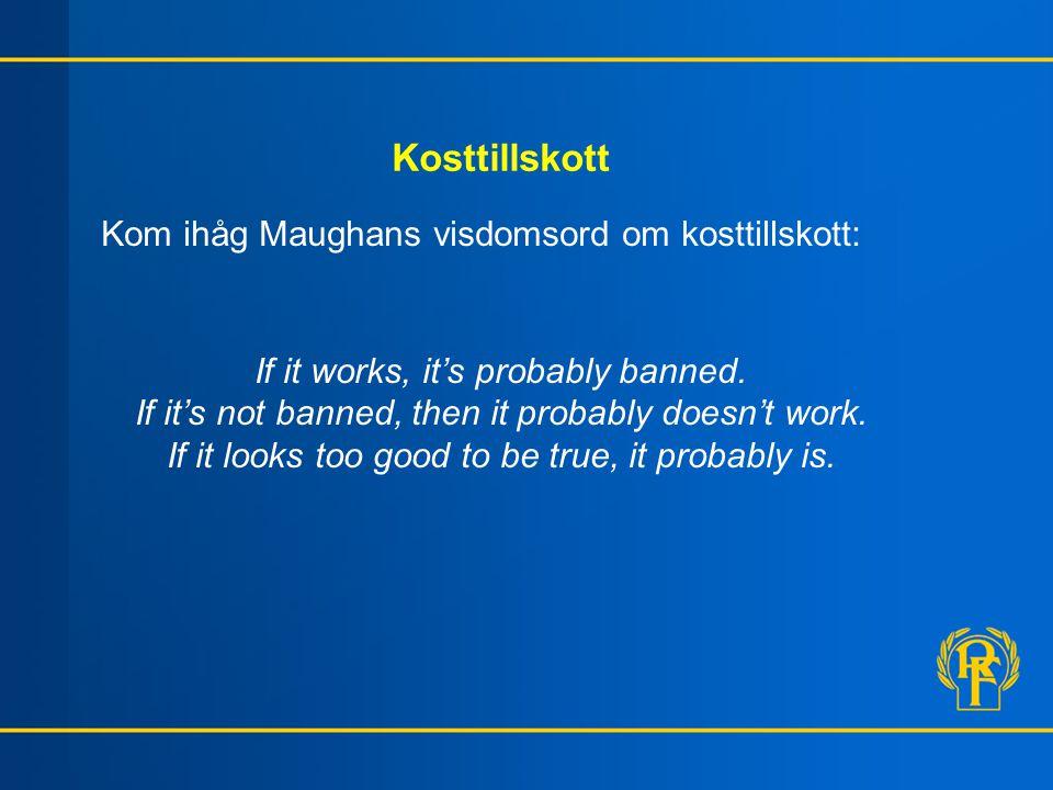 Kosttillskott Kom ihåg Maughans visdomsord om kosttillskott: If it works, it's probably banned.