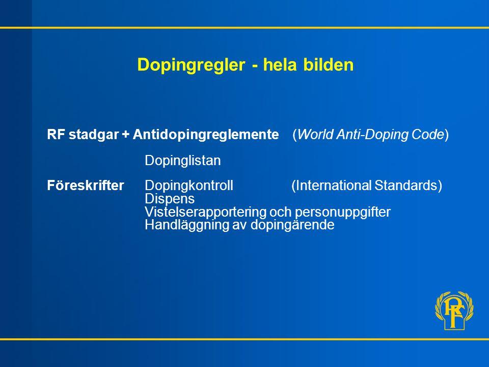 Dopingregler - hela bilden RF stadgar + Antidopingreglemente (World Anti-Doping Code) Dopinglistan FöreskrifterDopingkontroll (International Standards) Dispens Vistelserapportering och personuppgifter Handläggning av dopingärende