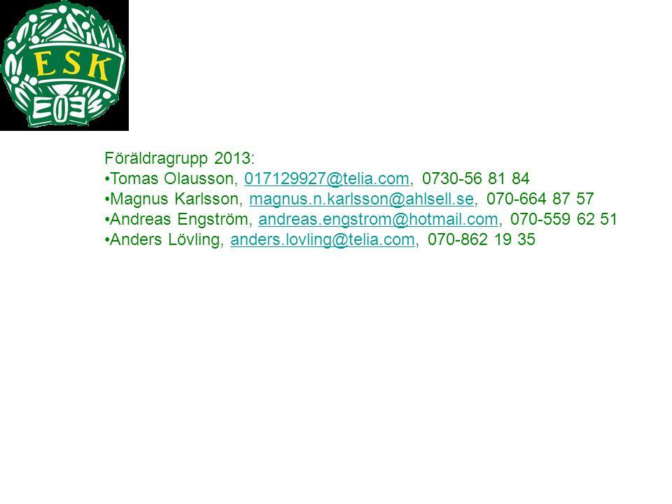 Föräldragrupp 2013: Tomas Olausson, 017129927@telia.com, 0730-56 81 84017129927@telia.com Magnus Karlsson, magnus.n.karlsson@ahlsell.se, 070-664 87 57