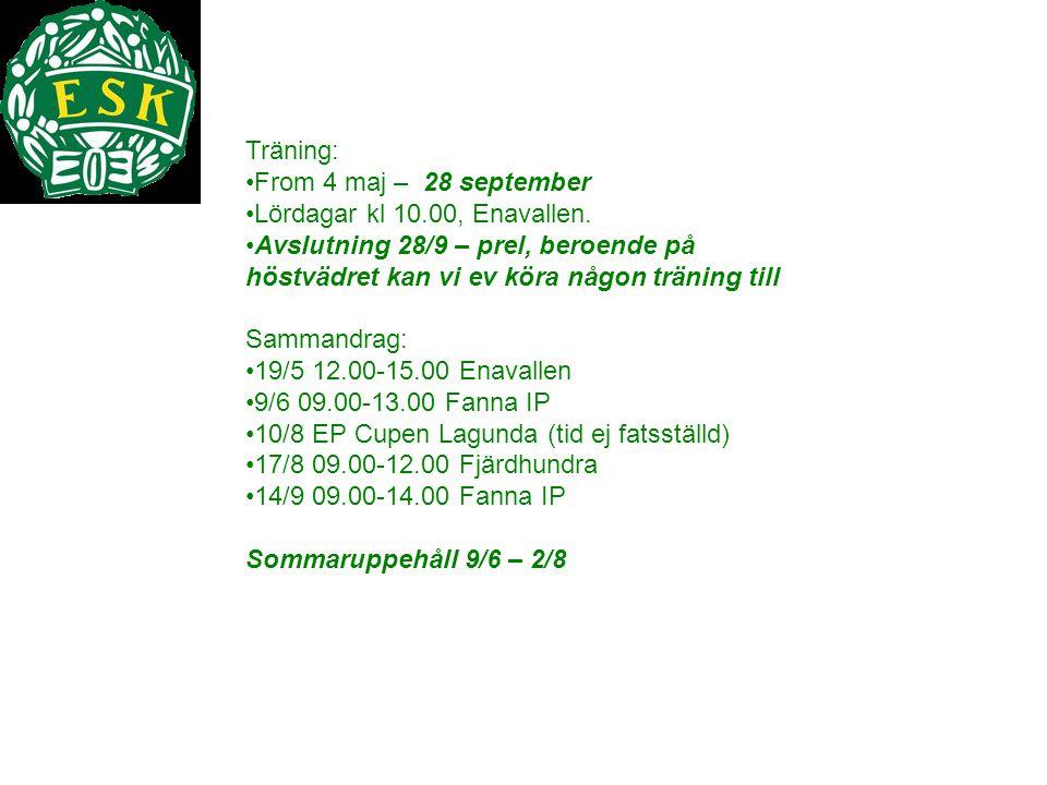 Träning: From 4 maj – 28 september Lördagar kl 10.00, Enavallen. Avslutning 28/9 – prel, beroende på höstvädret kan vi ev köra någon träning till Samm