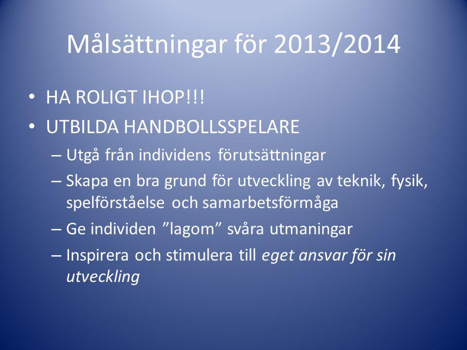 Målsättningar för 2013/2014 HA ROLIGT IHOP!!! UTBILDA HANDBOLLSSPELARE – Utgå från individens förutsättningar – Skapa en bra grund för utveckling av t