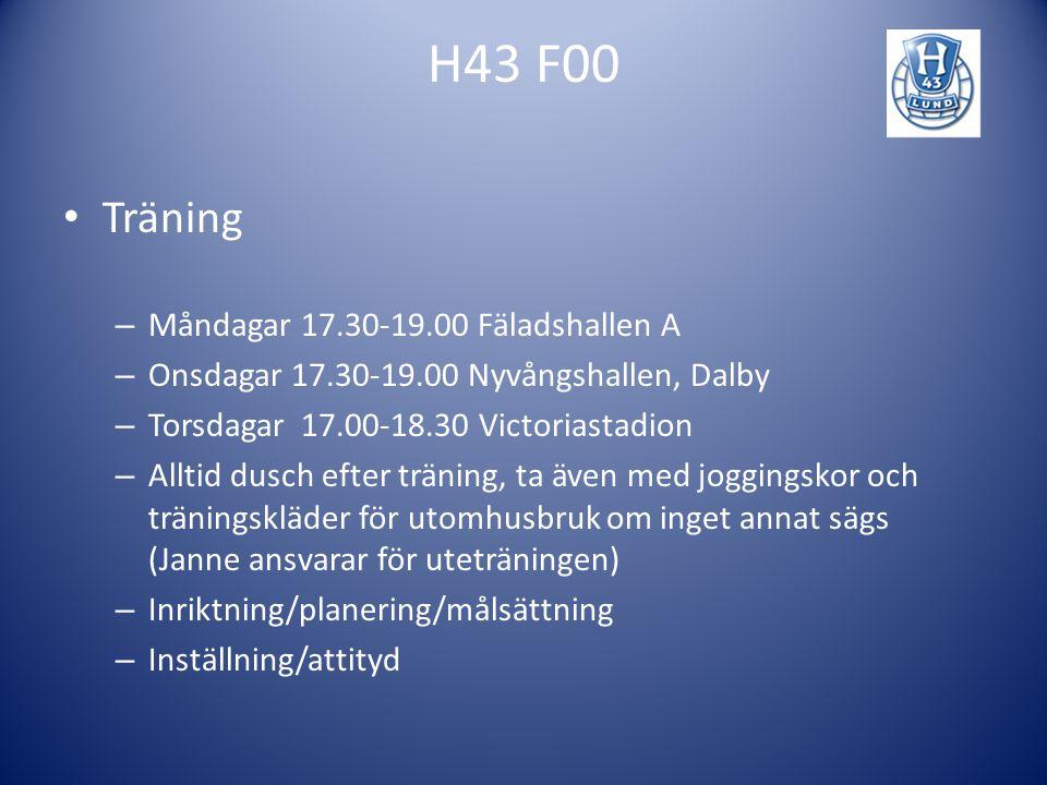 H43 F00 Administration – Medlemsavgifter – Lagkassa/möjlighet till sponsring – Övriga föräldraaktiviteter – Trupplista – Kallelser (F00lund.se->Ungdom->Blue Future->F00- >Laginfo->Spelschema & deltagande) – Hemsida – Rutiner vid sjukdom
