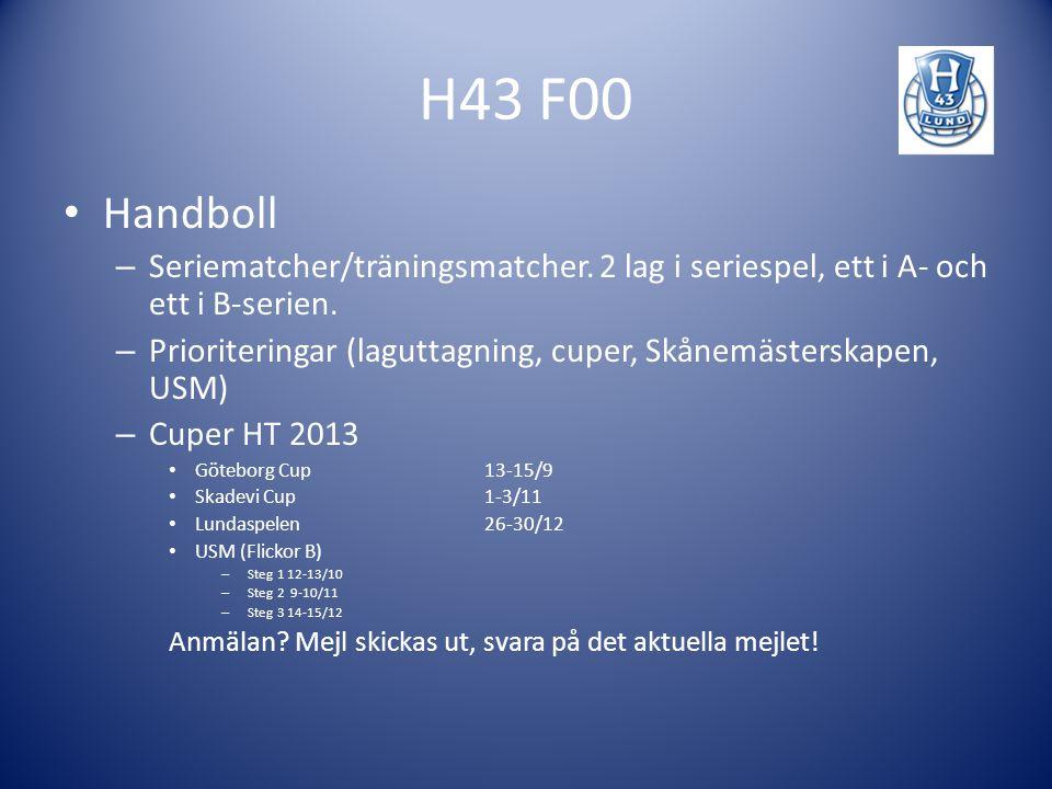 H43 F00 Handboll – Seriematcher/träningsmatcher. 2 lag i seriespel, ett i A- och ett i B-serien. – Prioriteringar (laguttagning, cuper, Skånemästerska