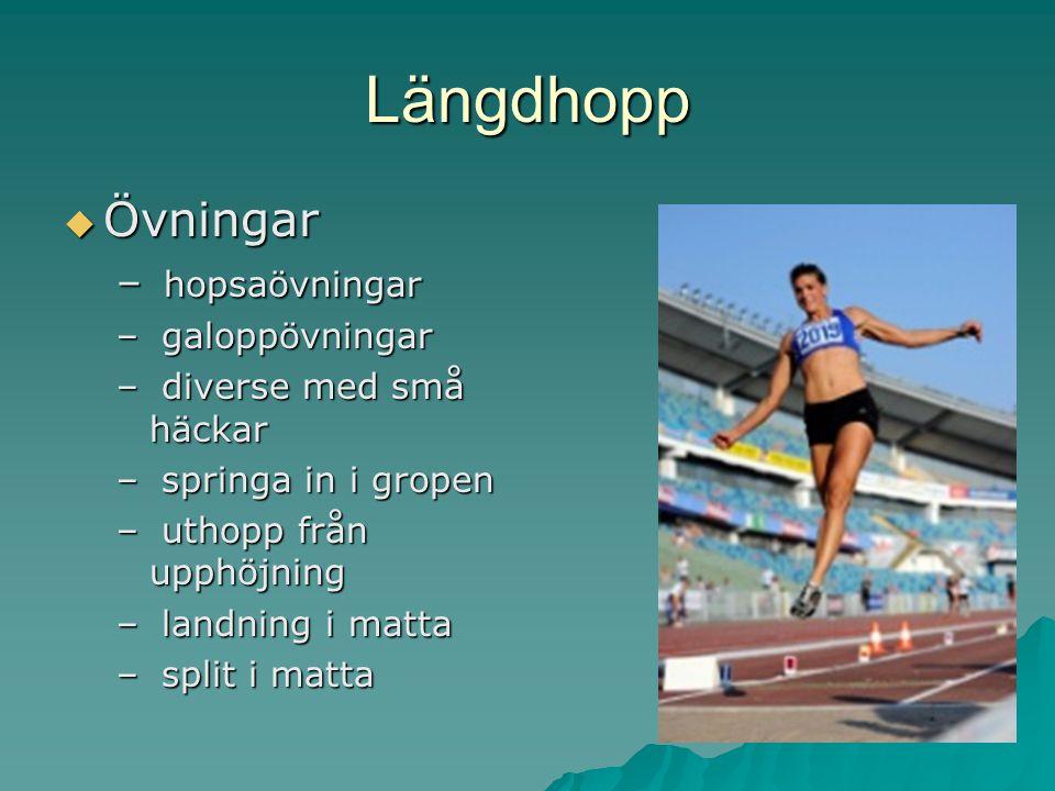 Längdhopp  Övningar – hopsaövningar – galoppövningar – diverse med små häckar – springa in i gropen – uthopp från upphöjning – landning i matta – spl
