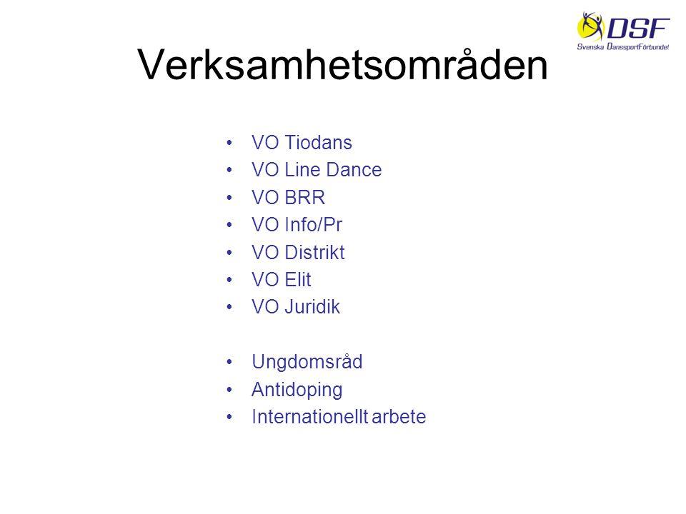 Verksamhetsområden VO Tiodans VO Line Dance VO BRR VO Info/Pr VO Distrikt VO Elit VO Juridik Ungdomsråd Antidoping Internationellt arbete