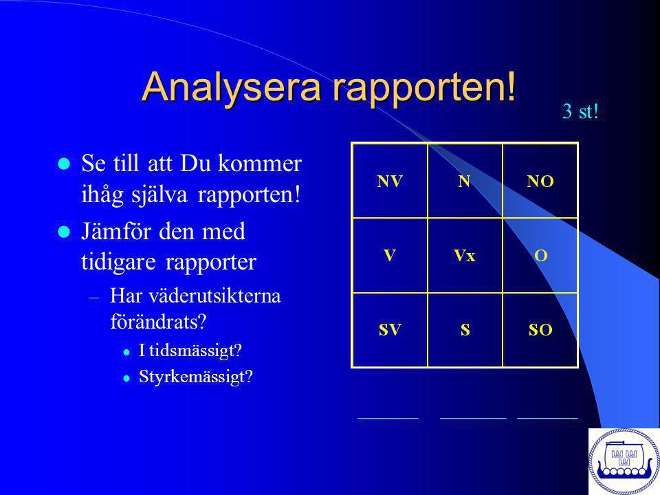Analysera rapporten! Se till att Du kommer ihåg själva rapporten! Jämför den med tidigare rapporter – Har väderutsikterna förändrats? I tidsmässigt? S