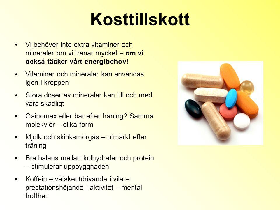 Kosttillskott Vi behöver inte extra vitaminer och mineraler om vi tränar mycket – om vi också täcker vårt energibehov.