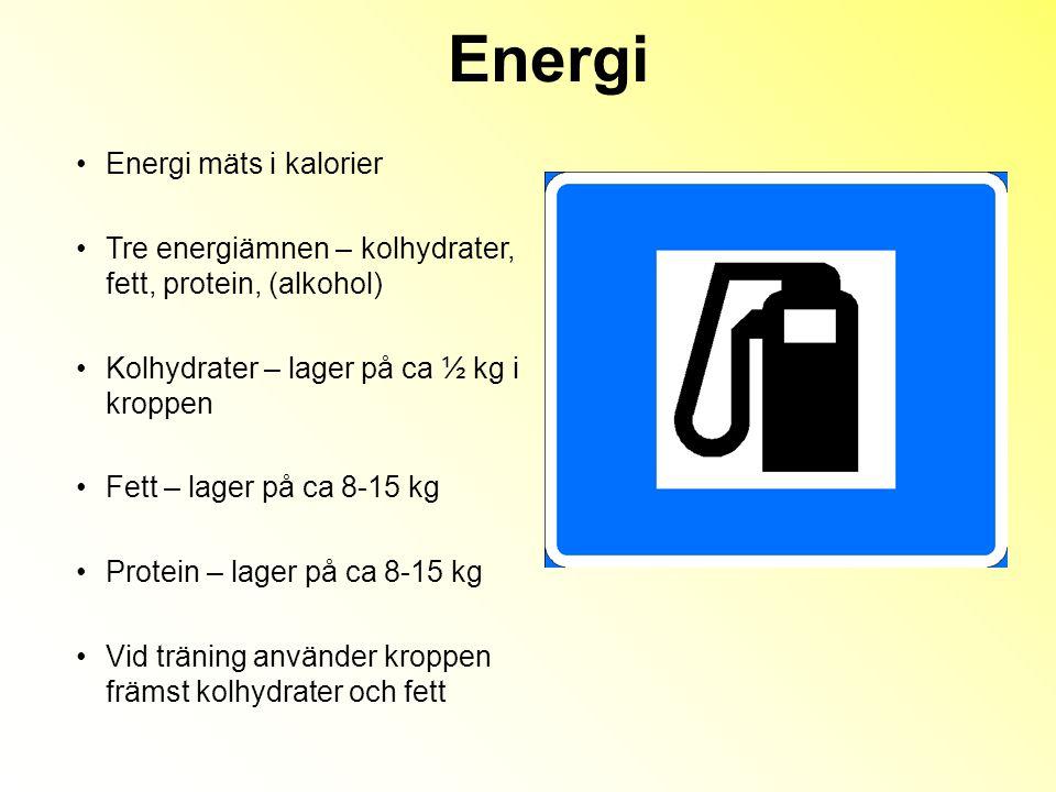 Energi mäts i kalorier Tre energiämnen – kolhydrater, fett, protein, (alkohol) Kolhydrater – lager på ca ½ kg i kroppen Fett – lager på ca 8-15 kg Protein – lager på ca 8-15 kg Vid träning använder kroppen främst kolhydrater och fett Energi