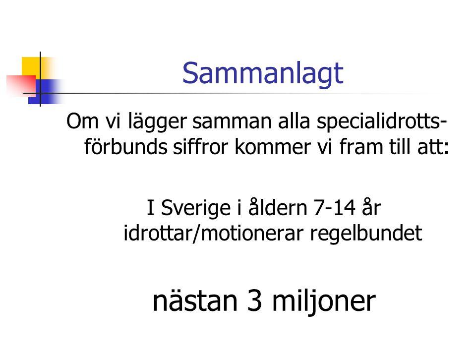 Sammanlagt Om vi lägger samman alla specialidrotts- förbunds siffror kommer vi fram till att: I Sverige i åldern 7-14 år idrottar/motionerar regelbund