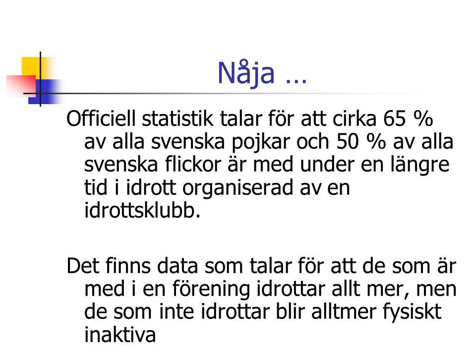Nåja … Officiell statistik talar för att cirka 65 % av alla svenska pojkar och 50 % av alla svenska flickor är med under en längre tid i idrott organi