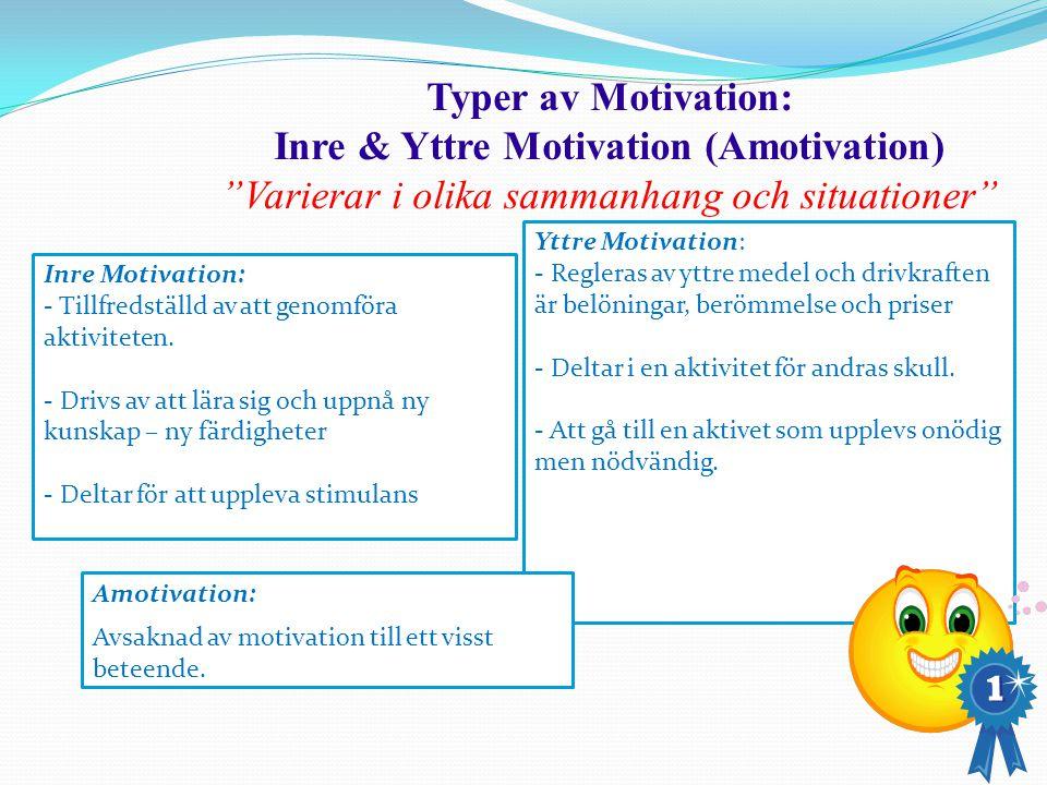 """Typer av Motivation: Inre & Yttre Motivation (Amotivation) """"Varierar i olika sammanhang och situationer"""" Inre Motivation: - Tillfredställd av att geno"""