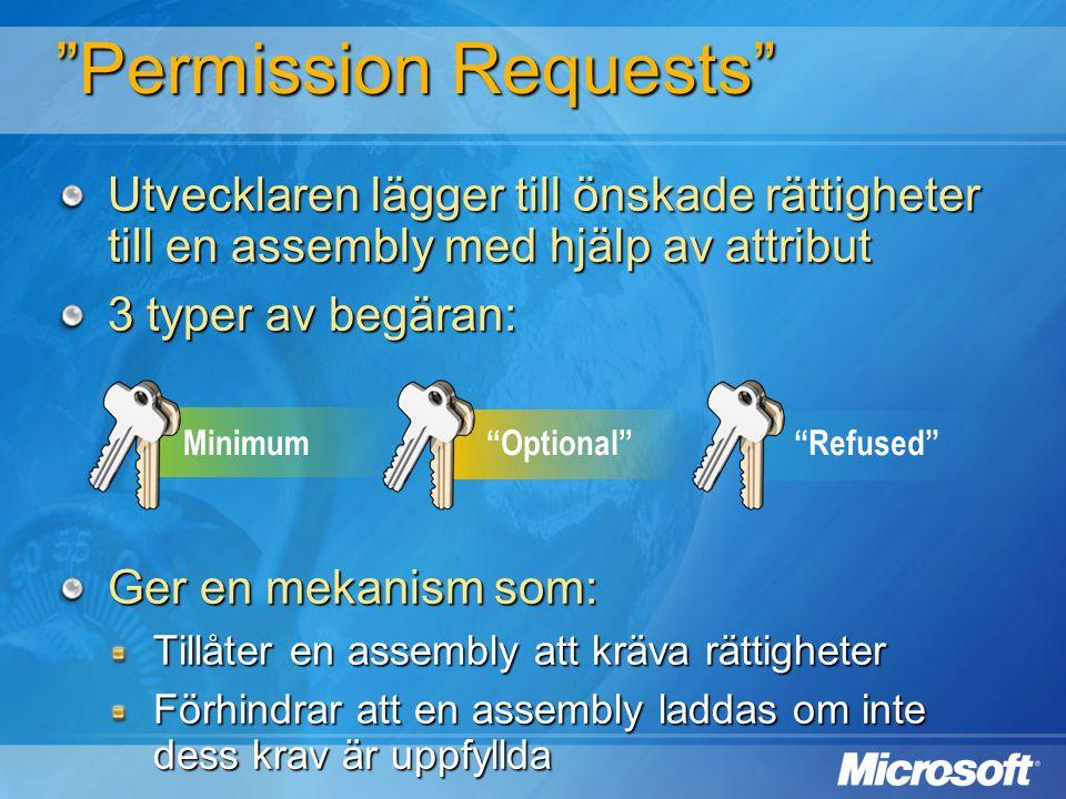 """Minimum""""Optional""""""""Refused"""" """"Permission Requests"""" Utvecklaren lägger till önskade rättigheter till en assembly med hjälp av attribut 3 typer av begäran"""