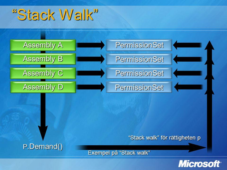 """""""Stack Walk"""" Assembly A Assembly B Assembly C Assembly D PermissionSet PermissionSet PermissionSet PermissionSet P.Demand() """"Stack walk"""" för rättighet"""