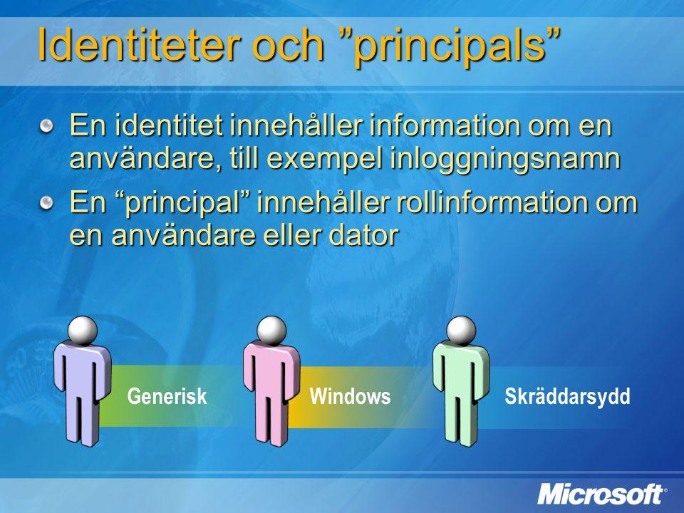 """GeneriskWindowsSkräddarsydd En identitet innehåller information om en användare, till exempel inloggningsnamn En """"principal"""" innehåller rollinformatio"""