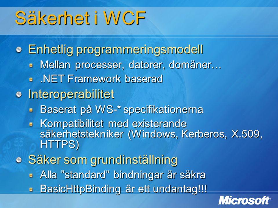 Säkerhet i WCF Enhetlig programmeringsmodell Mellan processer, datorer, domäner….NET Framework baserad Interoperabilitet Baserat på WS-* specifikation