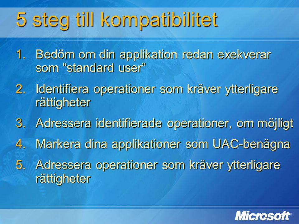 """5 steg till kompatibilitet  Bedöm om din applikation redan exekverar som """"standard user""""  Identifiera operationer som kräver ytterligare rättighet"""