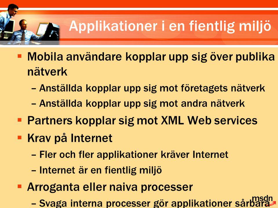  Mobila användare kopplar upp sig över publika nätverk –Anställda kopplar upp sig mot företagets nätverk –Anställda kopplar upp sig mot andra nätverk