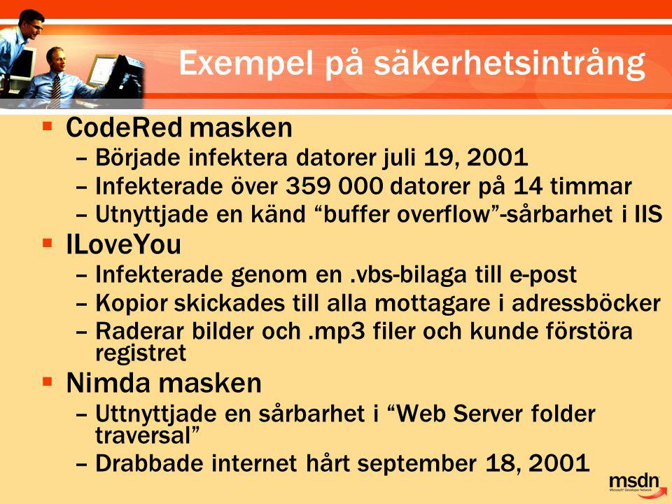 """ CodeRed masken –Började infektera datorer juli 19, 2001 –Infekterade över 359 000 datorer på 14 timmar –Utnyttjade en känd """"buffer overflow""""-sårbarh"""