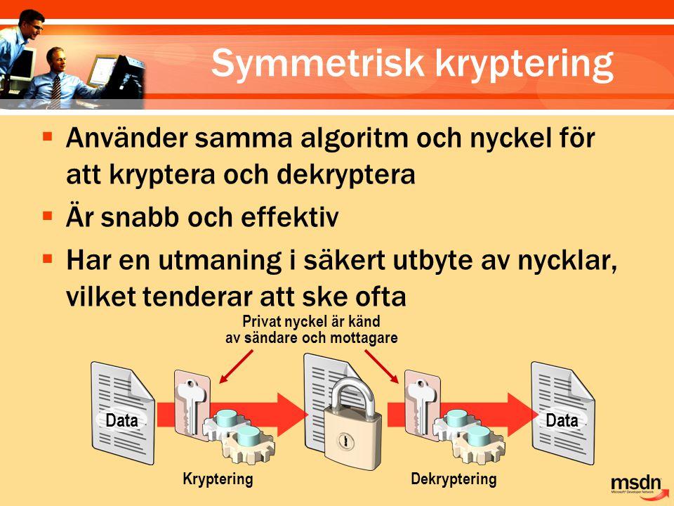 Data KrypteringDekryptering Privat nyckel är känd av sändare och mottagare Symmetrisk kryptering  Använder samma algoritm och nyckel för att kryptera