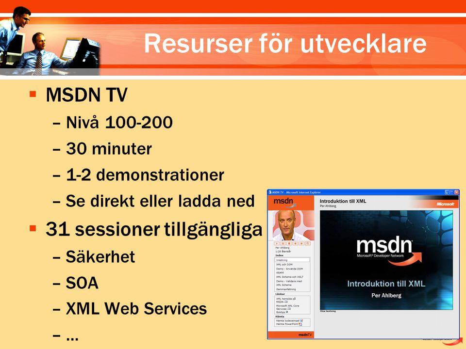  MSDN TV –Nivå 100-200 –30 minuter –1-2 demonstrationer –Se direkt eller ladda ned  31 sessioner tillgängliga –Säkerhet –SOA –XML Web Services –...