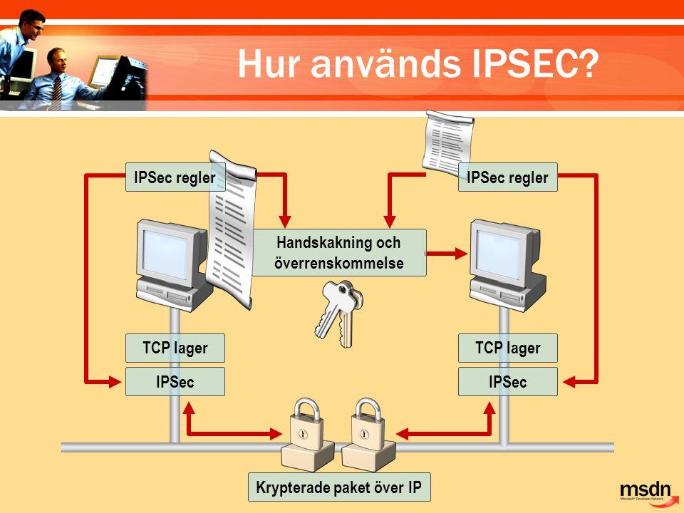 Handskakning och överrenskommelse TCP lager IPSec TCP lager IPSec Krypterade paket över IP IPSec regler Hur används IPSEC?
