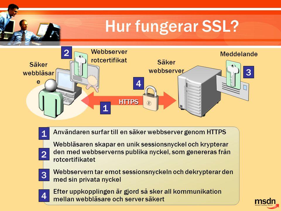 Användaren surfar till en säker webbserver genom HTTPS Webbläsaren skapar en unik sessionsnyckel och krypterar den med webbserverns publika nyckel, so