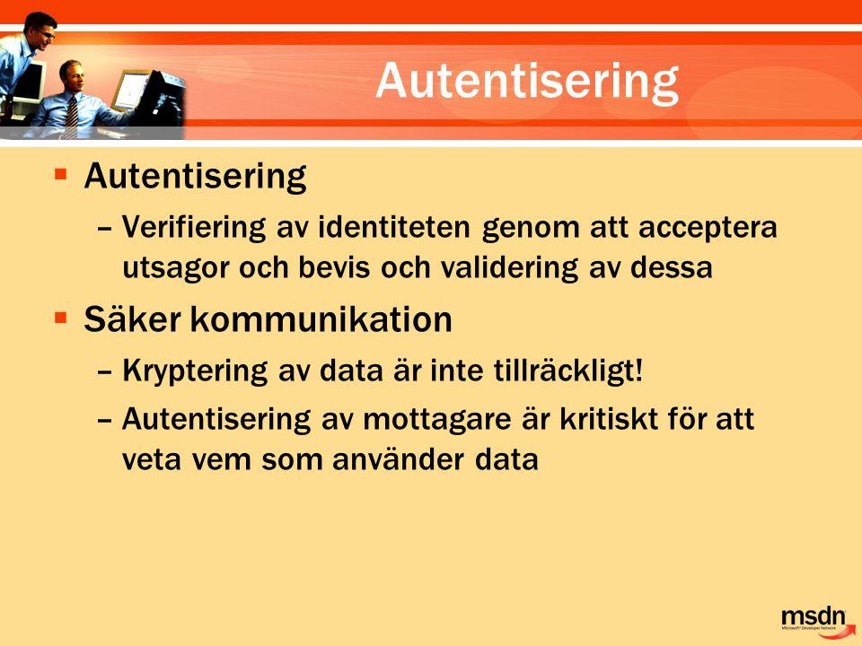 Autentisering  Autentisering –Verifiering av identiteten genom att acceptera utsagor och bevis och validering av dessa  Säker kommunikation –Krypter