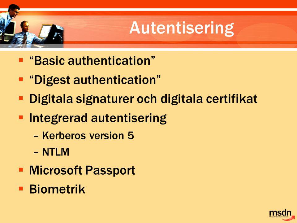 "Autentisering  ""Basic authentication""  ""Digest authentication""  Digitala signaturer och digitala certifikat  Integrerad autentisering –Kerberos ve"