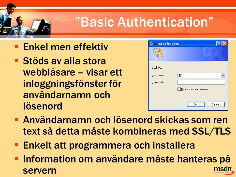 """""""Basic Authentication""""  Enkel men effektiv  Stöds av alla stora webbläsare – visar ett inloggningsfönster för användarnamn och lösenord  Användarna"""