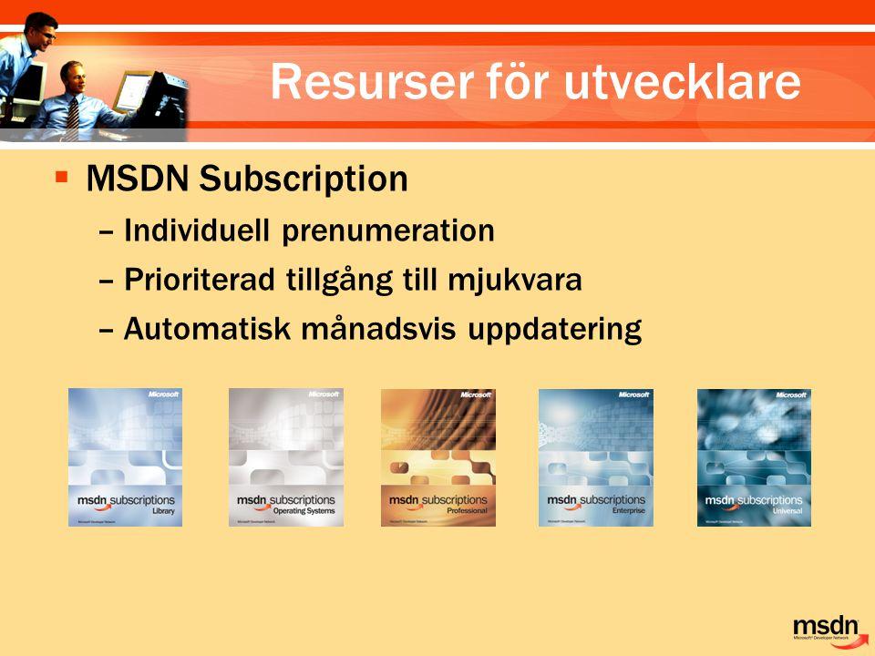  MSDN Subscription –Individuell prenumeration –Prioriterad tillgång till mjukvara –Automatisk månadsvis uppdatering