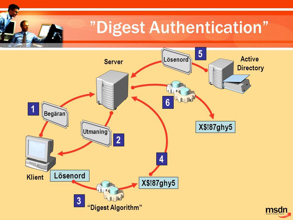 "Klient 1 Begäran Server Utmaning 2 3 ""Digest Algorithm"" Lösenord X$!87ghy5 4 Active Directory Lösenord 5 X$!87ghy5 6 ""Digest Authentication"""