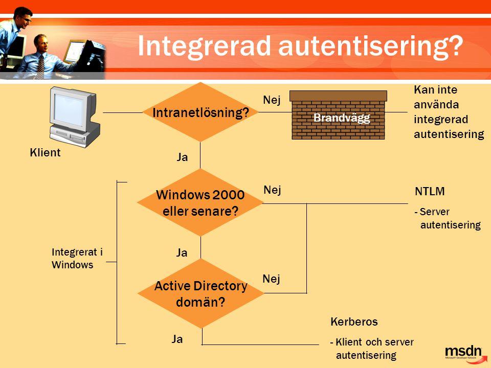 Klient Intranetlösning? Kan inte använda integrerad autentisering Nej Ja Brandvägg Ja Nej NTLM - Server autentisering Nej Ja Active Directory domän? K