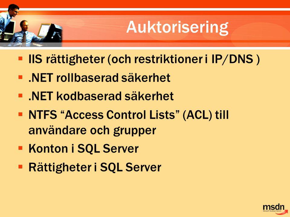 """Auktorisering  IIS rättigheter (och restriktioner i IP/DNS ) .NET rollbaserad säkerhet .NET kodbaserad säkerhet  NTFS """"Access Control Lists"""" (ACL)"""