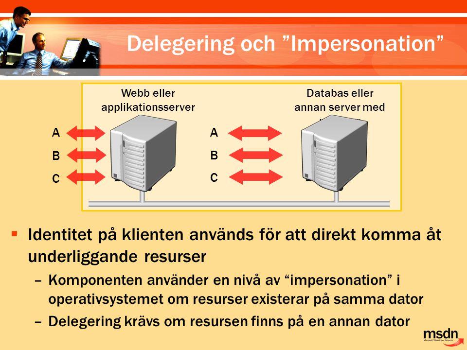 """ Identitet på klienten används för att direkt komma åt underliggande resurser –Komponenten använder en nivå av """"impersonation"""" i operativsystemet om"""