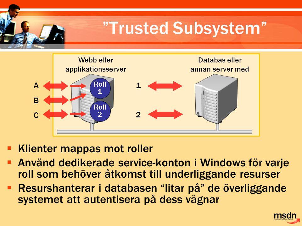  Klienter mappas mot roller  Använd dedikerade service-konton i Windows för varje roll som behöver åtkomst till underliggande resurser  Resurshante