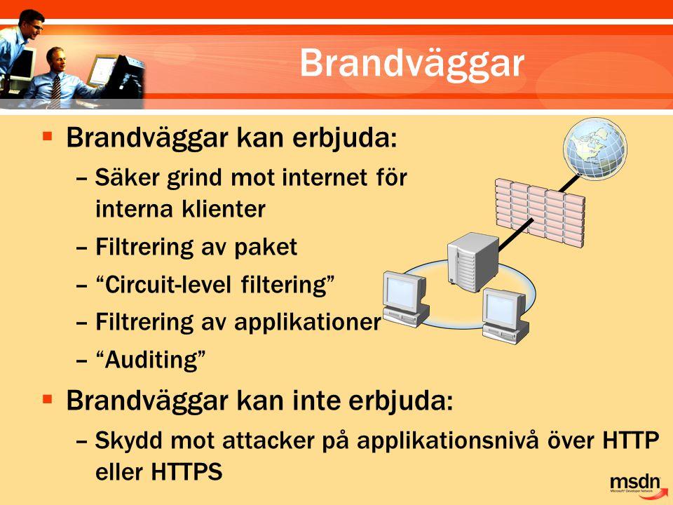 """Brandväggar  Brandväggar kan erbjuda: –Säker grind mot internet för interna klienter –Filtrering av paket –""""Circuit-level filtering"""" –Filtrering av a"""